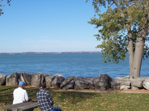 Lake Erie, with view of Kelley's Island.  World-known amusement park Cedar Point would be to the right.