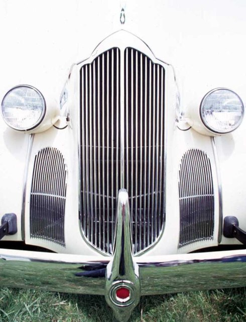"""Steel Cathedral"" - Victor, NY - a photo of what appears to be the grill of a 1940 Packard."