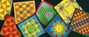 Quilt Block Paintings for Coffee Coasters